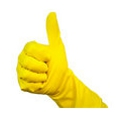 Cleaning glove giving thumbs up signal.